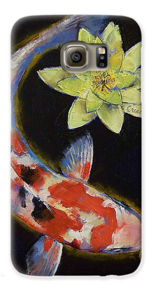 Koi With Yellow Water Lily Galaxy S6 Case by Michael Creese
