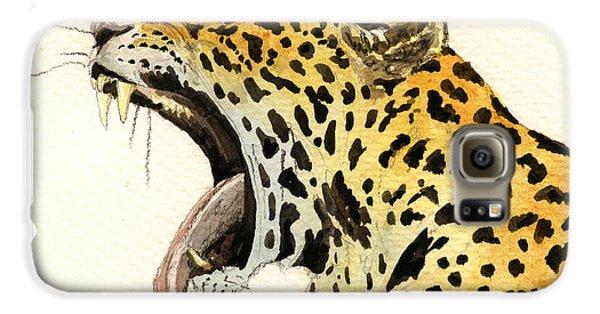 Leopard Head Galaxy S6 Case by Juan  Bosco