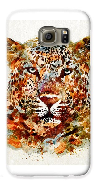 Leopard Head Watercolor Galaxy S6 Case by Marian Voicu