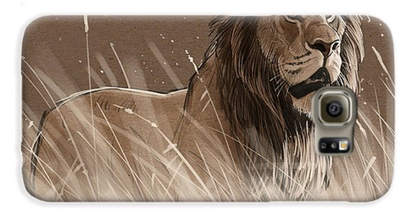Lion In The Grass Galaxy S6 Case by Aaron Blaise