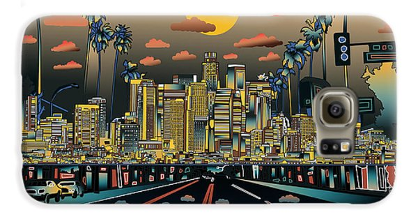 Los Angeles Skyline Abstract 2 Galaxy S6 Case by Bekim Art