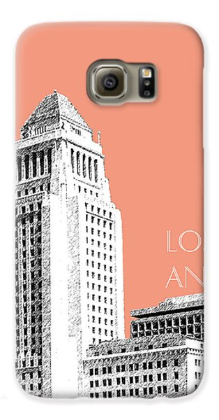 Los Angeles Skyline City Hall - Salmon Galaxy S6 Case by DB Artist