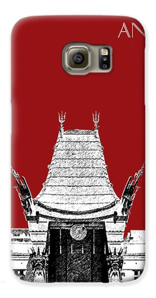 Los Angeles Skyline Graumans Chinese Theater - Dark Red Galaxy S6 Case by DB Artist