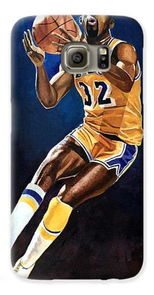 Magic Johnson - Lakers Galaxy S6 Case by Michael  Pattison