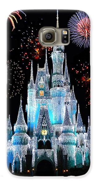 Magic Kingdom Castle In Frosty Light Blue With Fireworks 06 Galaxy S6 Case by Thomas Woolworth