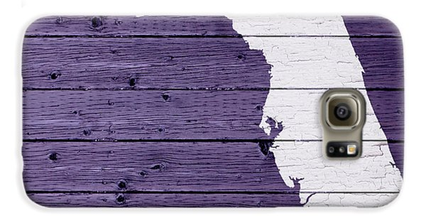Map Of Florida State Outline White Distressed Paint On Reclaimed Wood Planks Galaxy S6 Case by Design Turnpike