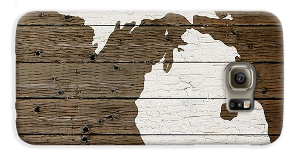 Map Of Michigan State Outline White Distressed Paint On Reclaimed Wood Planks Galaxy S6 Case by Design Turnpike