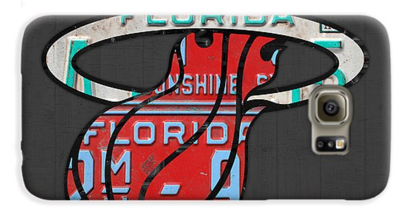 Miami Heat Basketball Team Retro Logo Vintage Recycled Florida License Plate Art Galaxy S6 Case by Design Turnpike