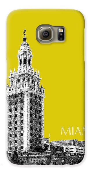 Miami Skyline Freedom Tower - Mustard Galaxy S6 Case by DB Artist