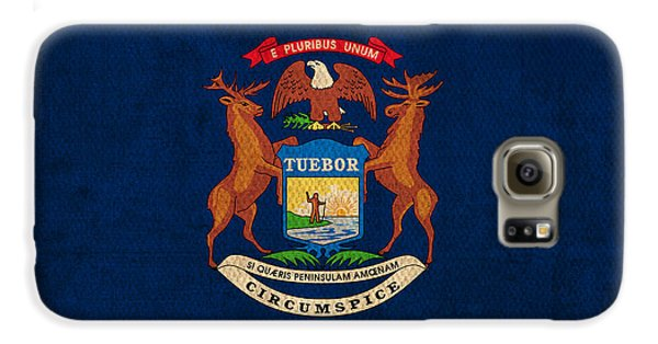 Michigan State Flag Art On Worn Canvas Galaxy S6 Case by Design Turnpike
