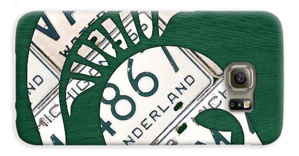 Michigan State Spartans Sports Retro Logo License Plate Fan Art Galaxy S6 Case by Design Turnpike