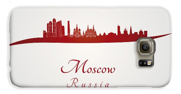 Moscow Skyline In Red Galaxy S6 Case by Pablo Romero