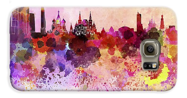 Moscow Skyline In Watercolor Background Galaxy S6 Case by Pablo Romero