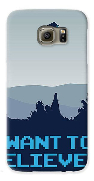 My I Want To Believe Minimal Poster- Tardis Galaxy S6 Case by Chungkong Art