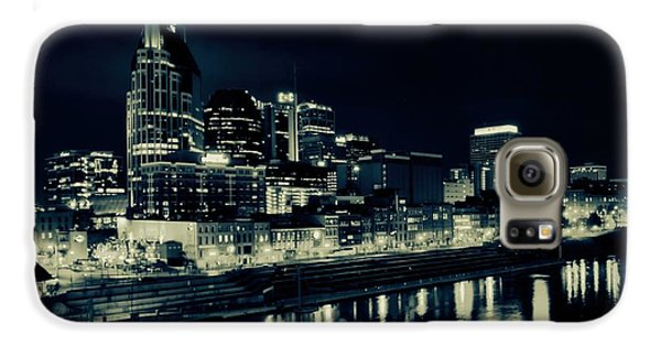 Nashville Skyline Reflected At Night Galaxy S6 Case by Dan Sproul