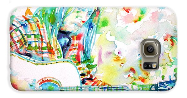 Neil Young Playing The Guitar - Watercolor Portrait.1 Galaxy S6 Case by Fabrizio Cassetta