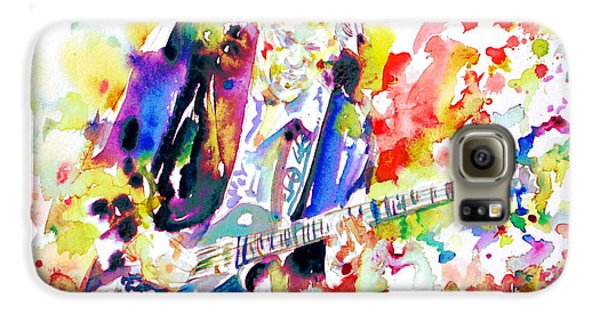 Neil Young Playing The Guitar - Watercolor Portrait.2 Galaxy S6 Case by Fabrizio Cassetta