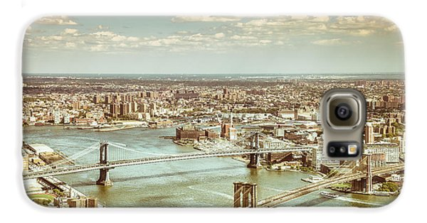 New York City - Brooklyn Bridge And Manhattan Bridge From Above Galaxy S6 Case by Vivienne Gucwa