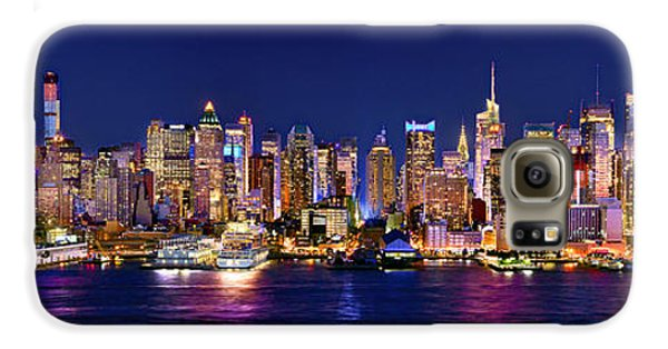 New York City Nyc Midtown Manhattan At Night Galaxy S6 Case by Jon Holiday
