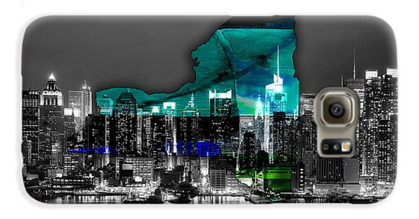 New York Map And Skyline Watercolor Galaxy S6 Case by Marvin Blaine