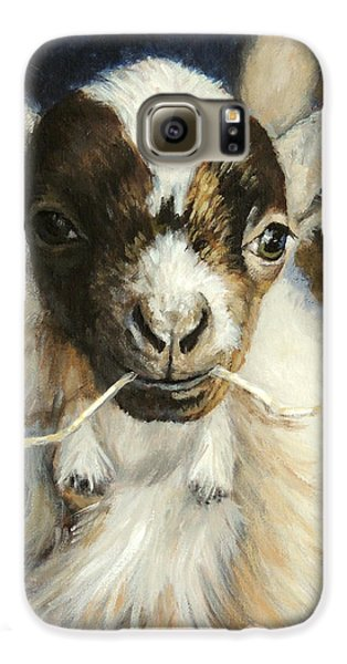 Nigerian Dwarf Goat With Straw Galaxy S6 Case by Dottie Dracos