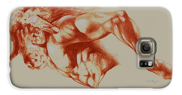 North American Minotaur Red Sketch Galaxy S6 Case by Derrick Higgins