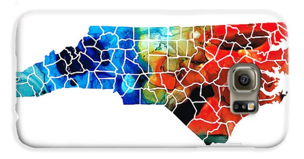 North Carolina - Colorful Wall Map By Sharon Cummings Galaxy S6 Case by Sharon Cummings