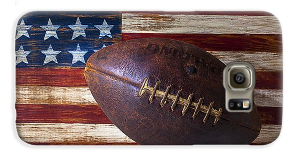 Old Football On American Flag Galaxy S6 Case by Garry Gay