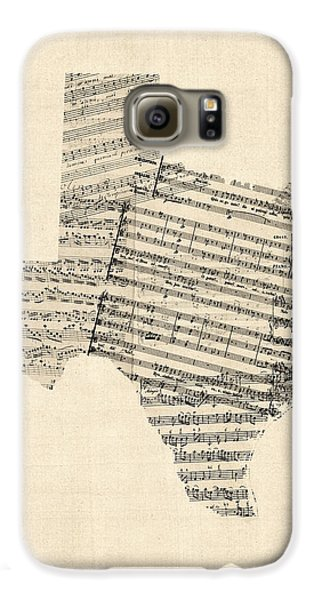 Old Sheet Music Map Of Texas Galaxy S6 Case by Michael Tompsett