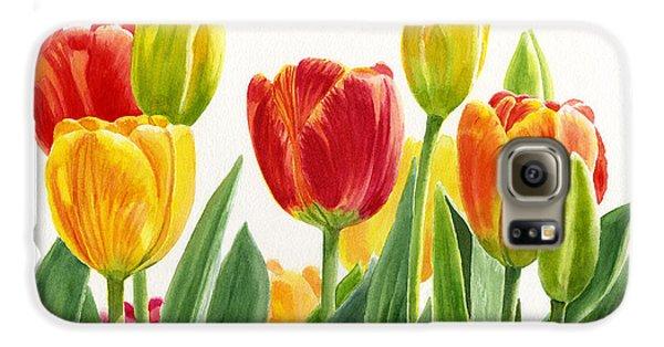 Orange And Yellow Tulips Horizontal Design Galaxy S6 Case by Sharon Freeman