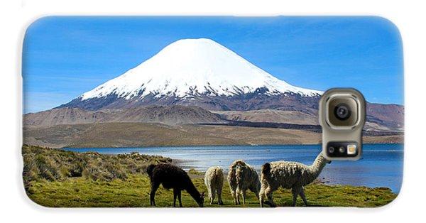 Parinacota Volcano Lake Chungara Chile Galaxy S6 Case by Kurt Van Wagner