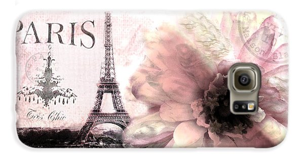 Paris Dreamy Eiffel Tower Montage - Paris Romantic Pink Sepia Eiffel Tower And Flower French Script Galaxy S6 Case by Kathy Fornal
