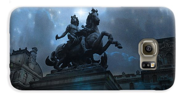 Paris Louvre Museum Blue Starry Night - King Louis Xiv Monument At Louvre Museum Galaxy S6 Case by Kathy Fornal