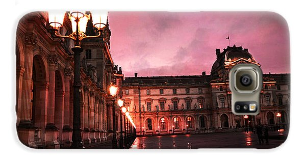 Paris Louvre Museum Night Architecture Street Lamps - Paris Louvre Museum Lanterns Night Lights Galaxy S6 Case by Kathy Fornal