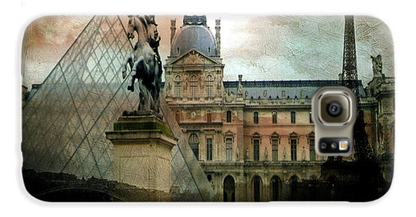 Paris Louvre Museum Pyramid Architecture - Eiffel Tower Photo Montage Of Paris Landmarks Galaxy S6 Case by Kathy Fornal