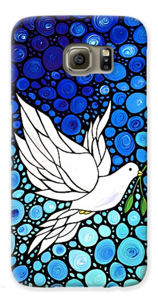 Peaceful Journey - White Dove Peace Art Galaxy S6 Case by Sharon Cummings