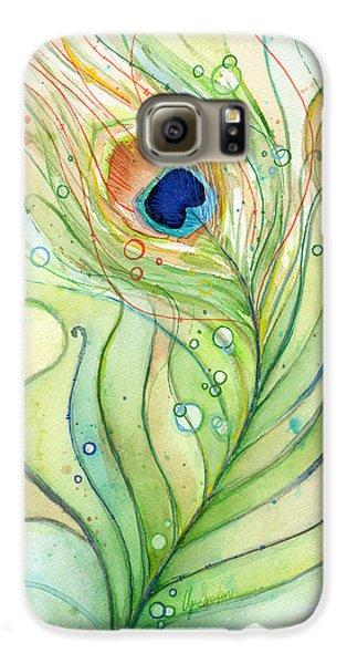 Peacock Feather Watercolor Galaxy S6 Case by Olga Shvartsur
