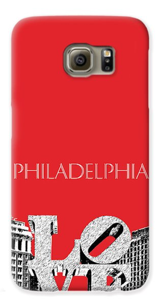 Philadelphia Skyline Love Park - Red Galaxy S6 Case by DB Artist
