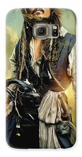 Pirates Of The Caribbean Johnny Depp Artwork 1 Galaxy S6 Case by Sheraz A