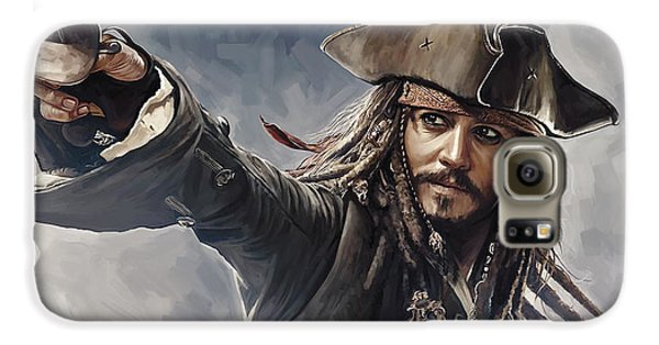Pirates Of The Caribbean Johnny Depp Artwork 2 Galaxy S6 Case by Sheraz A