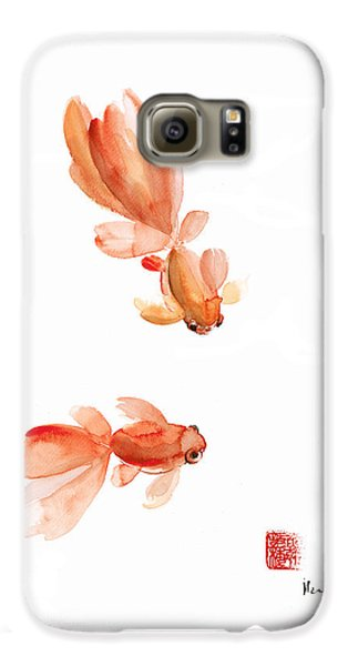 Pisces Zodiac Fishes Orange Red  Pink Fish Water Goldfish Watercolor Painting Galaxy S6 Case by Johana Szmerdt