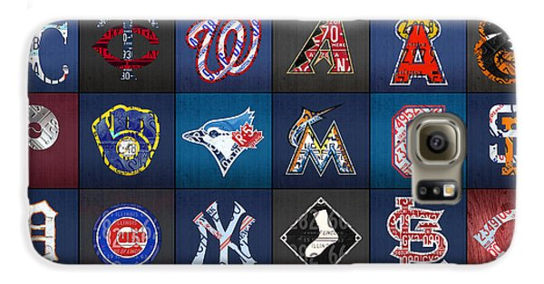 Play Ball Recycled Vintage Baseball Team Logo License Plate Art Galaxy S6 Case by Design Turnpike
