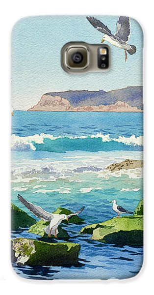 Point Loma Rocks Waves And Seagulls Galaxy S6 Case by Mary Helmreich