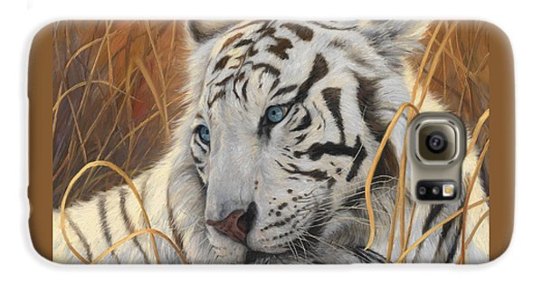 Portrait White Tiger 1 Galaxy S6 Case by Lucie Bilodeau