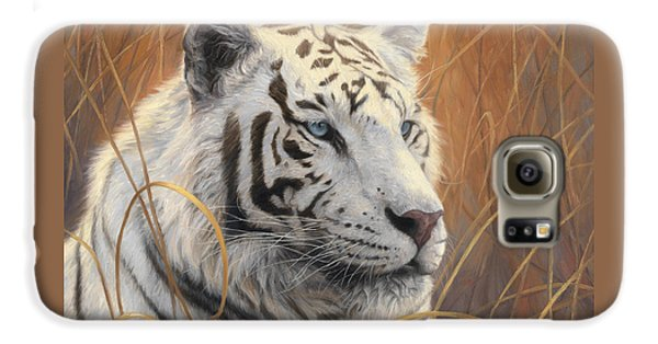 Portrait White Tiger 2 Galaxy S6 Case by Lucie Bilodeau