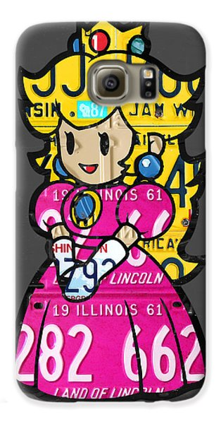 Princess Peach From Mario Brothers Nintendo Recycled License Plate Art Portrait Galaxy S6 Case by Design Turnpike
