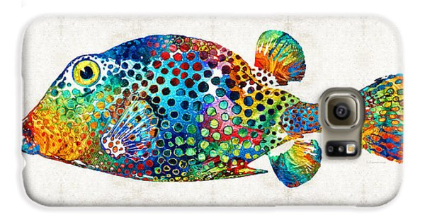 Puffer Fish Art - Puff Love - By Sharon Cummings Galaxy S6 Case by Sharon Cummings