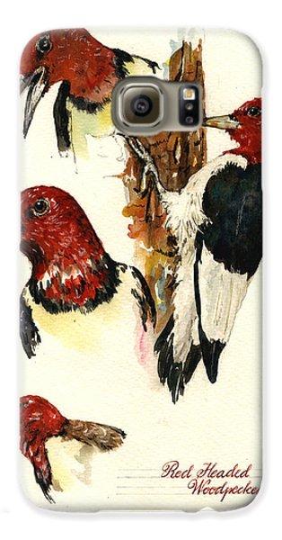 Red Headed Woodpecker Bird Galaxy S6 Case by Juan  Bosco