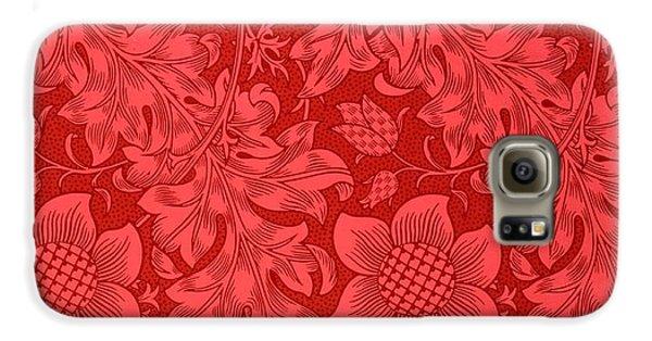 Red Sunflower Wallpaper Design, 1879 Galaxy S6 Case by William Morris