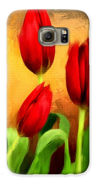 Red Tulips Triptych Section 2 Galaxy S6 Case by Lourry Legarde